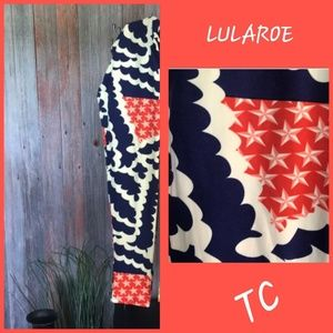 LuLaRoe TC Tall and Curvy Leggings Blue Orang Star